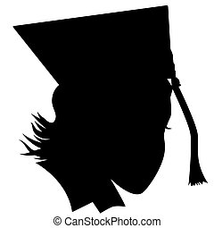 Female Graduate - An image of a female graduate with hat...