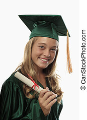 female graduate in cap and gown