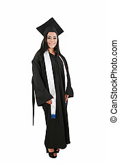Female graduate smiling isolated over a white background