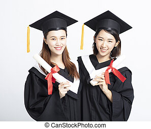 female graduate students isolated on white