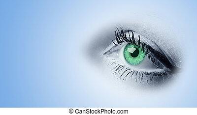 Female green eyes. A photo close up, a part face