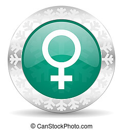 female green icon, christmas button, female gender sign