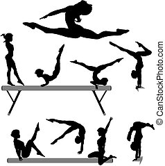 Silhouettes set of a female gymnast or gymnasts doing balance beam gymnastics exercises.
