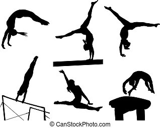 Female silhouettes of gymnastic floor exercise, pummel horse, balance beam, and uneven bars.