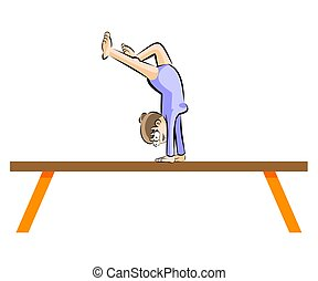 Female gymnastics on balance beam
