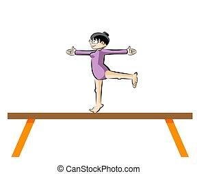 Female Gymnastics On Balance Beam Conceptual Vector