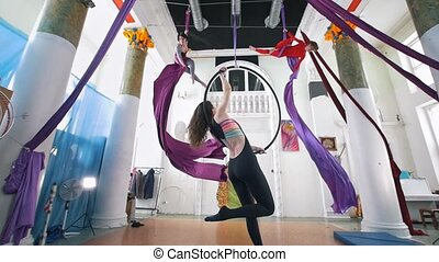 Female gymnasts circling on a aerial hoop and silk in the...