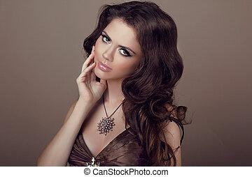 female., hair., brunetta, moda, bello, modello, jewelry., donna, lungo, sano, bellezza, girl., ondulato