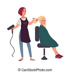 Female hairdresser blow-dry with hairdryer hair of her smiling client sitting in chair. Happy woman in hairdressing salon isolated on white background. Flat cartoon colorful vector illustration.