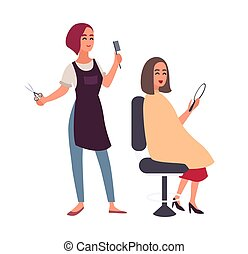 Female hairdresser cutting hair of her happy client sitting in chair and looking in mirror. Smiling women in hairdressing salon isolated on white background. Flat cartoon colorful vector illustration.