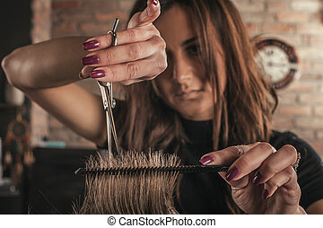 Female hairdresser hairstyle hair of man