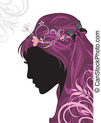 Female hairstyle. Decorative banner for design. Vector...