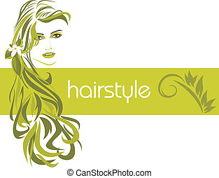 Female hairstyle. Decorative banner. Vector illustration