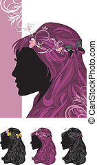 Female hairstyle. Patterns