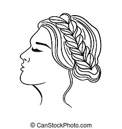 Female hairstyle with a braid. Black outline on a white background. Vector graphics.