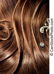Female hairstyle with beautiful barrettes - Beautiful part...