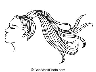 Female hairstyle with ponytail. Black outline on a white background. Vector graphics.