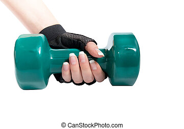 Female hand a holding dumbbell on a