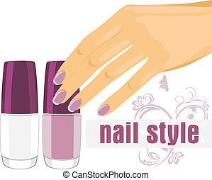 Female hand and nail polish - Female hand with manicure and...