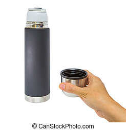 Female Hand and Thermos Flask