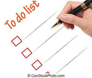 female hand checking to do list