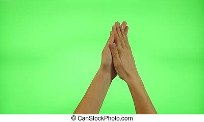 Female hand gestures, green screen