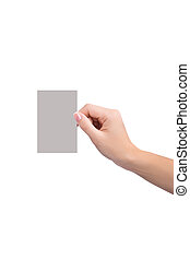 Female hand holding a blank business card