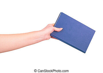 Female hand holding a book isolated on a white background