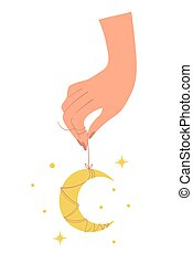 Female hand holding a crescent moon amulet, flat design in boho style. Magic symbol for witchcraft, astrology, palmistry, tarot. Vector illustration isolated on white background.
