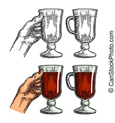 Female hand holding a glass of wine. Vintage vector engraving i