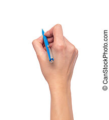 Female hand holding a pen on white background.