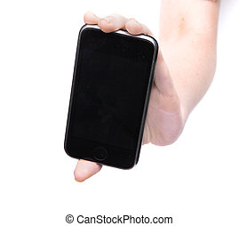 Female hand holding a phone on an isolated white background