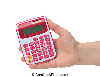 female hand holding a pink calculator on a white background