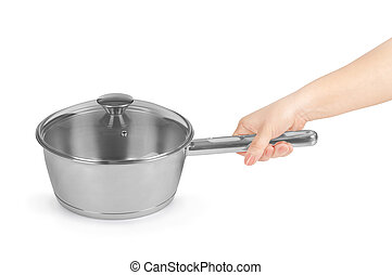 female hand holding a pot isolated on white background