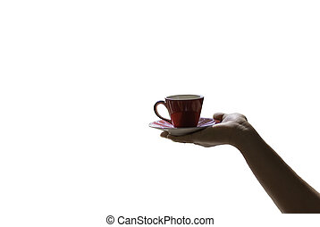 female hand holding a red cup of coffee or tea isolate white background ,with clipping path