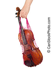 Female hand holding a red mesh with the violin