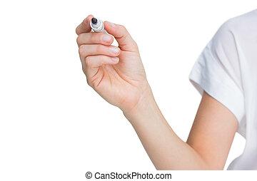 Female hand holding black whiteboard marker on white...