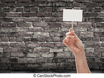 Female Hand Holding Blank Sign Against Aged Brick Wall