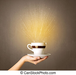 Female hand holding coffee cup - Young female hand holding ...