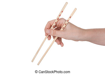 Female hand holding crossed chopsticks with chinese inscription