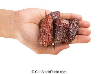Female Hand Holding Date Fruits