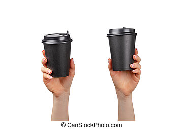 Female hand holding disposable coffee cup isolated on white