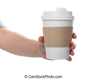 Female hand holding disposable eco paper cup with freshly brewed coffee isolated on white