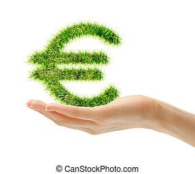 Female hand holding euro sign