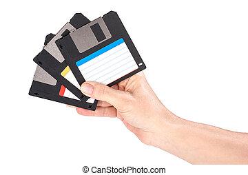 Female hand holding floppy disks