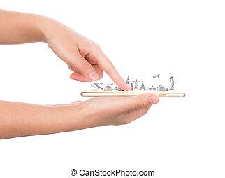 Female hand holding gold mobile phone smartphone travel around the world (Japan, France, Italy ,New York, India, egypt, china, london, brazil)