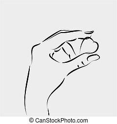 Female hand holding heart. Vector