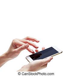 Female hand holding mobile phone