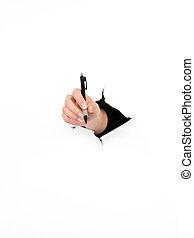 female hand holding pen