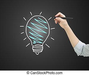 Female hand holding pen drawing light bulb